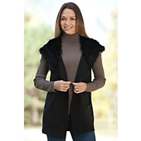 Women's Chloe Wool Vest With Rex Rabbit Fur Hood, Charcoal, Size Medium (8) Western & Country