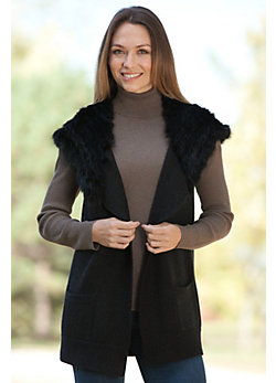 Women's Chloe Wool Vest with Rex Rabbit Fur Hood