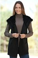 Women's Chloe Wool Vest with Rex Rabbit Fur Hood