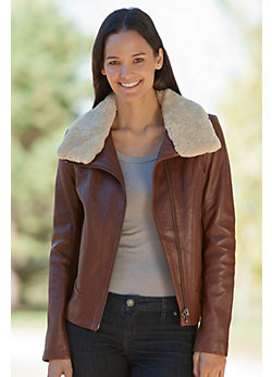 Women's Amelia Lambskin Leather Bomber Jacket with Sheepskin Collar