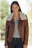 Women's Amelia Lambskin Leather Bomber Jacket with Sheepskin Collar