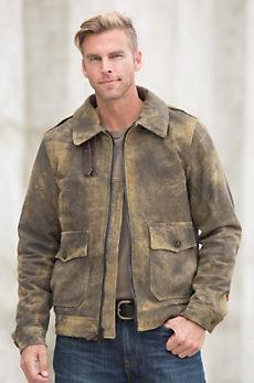 Tomahawk Distressed Lambskin Leather Bomber Jacket