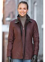 Zinnia Lambskin Leather Coat
