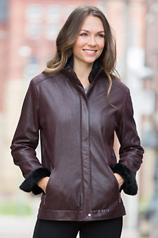 Rhoda Lambskin Leather Jacket with Shearling Collar