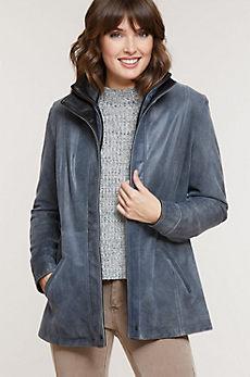 Ayella Distressed Lambskin Leather Coat