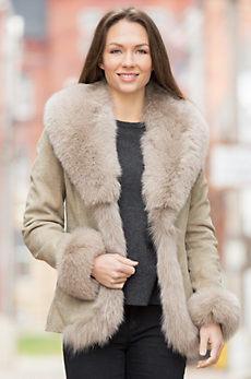Logan Spanish Lambskin Leather Jacket with Fox Fur Trim