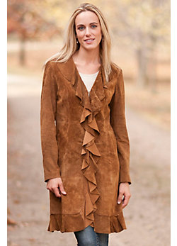 Women's Summer Ruffled Suede Coat