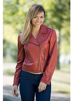 Women's Sierra Lambskin Leather Studded Motorcycle Jacket
