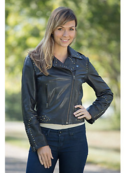 Women's Sedona Studded Leather Motorcycle Jacket
