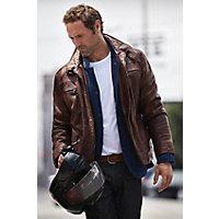Men's Memphis Lambskin Leather Bomber Jacket, Brick, Size Xlarge (45) Western & Country
