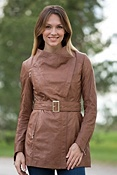 Women's Ella Lambskin Leather Trench Coat