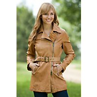 Women's Chelsea Lambskin Leather Trench Coat, Camel, Size Small Western & Country
