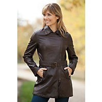 Women's Chelsea Lambskin Leather Trench Coat, DARK BROWN, Size LARGE