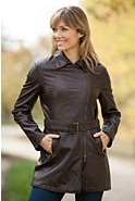 Women's Chelsea Lambskin Leather Trench Coat