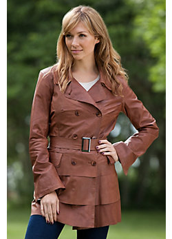 Women's Elena Belted Lambskin Leather Trench Coat