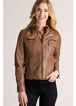 Marie Lambskin Leather Jacket