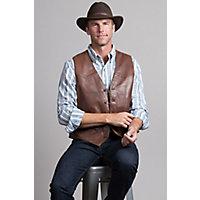 Men's Glenn Waxed Lambskin Leather Vest, Brick, Size 48 Western & Country