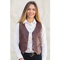 Women's Mandy Waxed Lambskin Leather Vest, Brick, Size Large (10) Western & Country