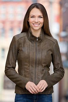 Lena Antique Lambskin Leather Jacket