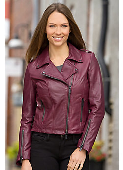 Joanna Lambskin Leather Biker Jacket