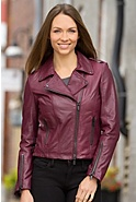 Women's Joanna Lambskin Leather Biker Jacket
