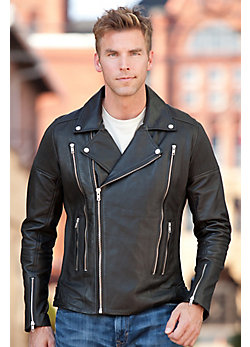 Men's Pipeline Lambskin Leather Biker Jacket