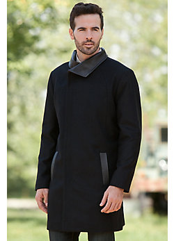 Men's Lord Cashmere-Blend Wool Coat with Leather Trim
