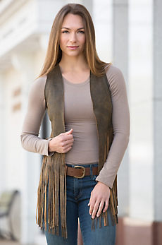 Sonia Fringed Lambskin Leather Vest