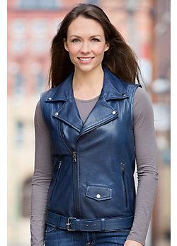 Sarah Lambskin Leather Biker Vest