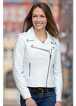 Donna Lambskin Leather Biker Jacket