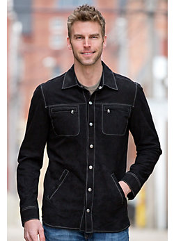 Glenn Sueded Goatskin Leather Shirt Jacket