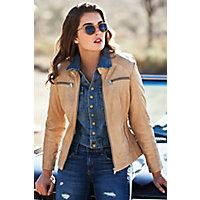 Arissa Lambskin Leather Moto Jacket