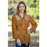 Women's Oakley Fringed Deer Suede Jacket, WHISKEY, Size LARGE  (10-12)