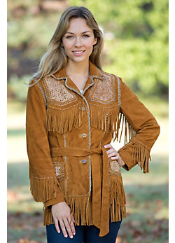 Women's Oakley Fringed Deer Suede Jacket