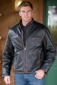 Men's Andrew Marc Cuervo Retro Leather Motorcycle Jacket