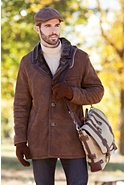 Men's Thames Spanish Merino Shearling Sheepskin Pea Coat