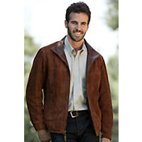 Men's Barcelona Sueded Lambskin Leather Jacket, Cappuccino, Size 46 Western & Country