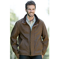 Men's Upland Lambskin Leather Jacket, Olive, Size 42 Western & Country