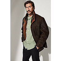 Men's Jack Frost Leather Coat With Shearling Lining, Dark Brown / Tundra, Size 44 Western & Country