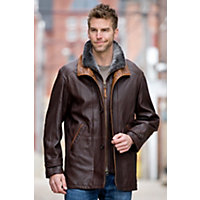 Men's Salem Lambskin Leather Jacket With Shearling Collar, Truffle, Size 44 Western & Country
