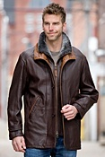 Men's Salem Lambskin Leather Jacket with Shearling Collar