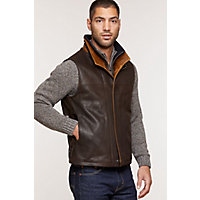 Men's Traveler Leather Vest (Big), DARK BROWN, Size 48