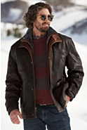 Men's Jack Frost Leather Coat with Shearling Lining (Big)