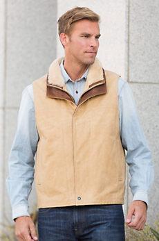 Trekker Italian Calfskin Leather Vest with Shearling Collar