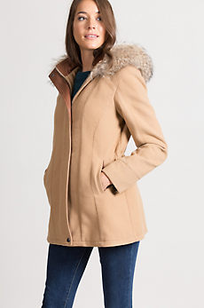 Katy Wool & Cashmere Coat with Coyote Fur Collar
