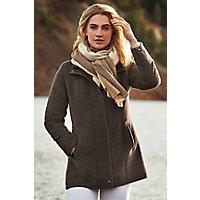 Image of Abbie Alpaca Wool Coat with Lambskin Leather Trim