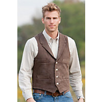 Men's Travis 4-Pocket Cowhide Leather Vest, Cocoa / Brown, Size 44 Western & Country