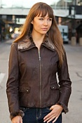 Women's Andrew Marc Treason Lambskin Leather Jacket with Rabbit Fur Trim