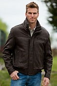 Men's Andrew Marc Nucky Lambskin Leather Bomber Jacket with Sheepskin Collar