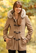 Women's Andrew Marc Charm Cashmere-Blend Wool Coat with Coyote Fur Trim